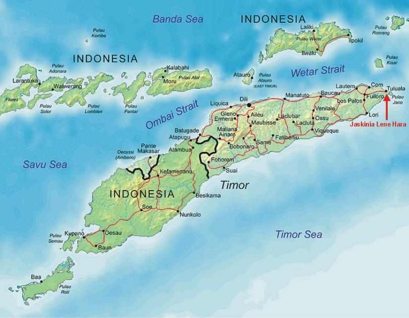 Lokalizacja stanowiska Lene Hara w pobliżu wioski Tuluala w Timorze Wschodnim. Źródło: Creative Commons