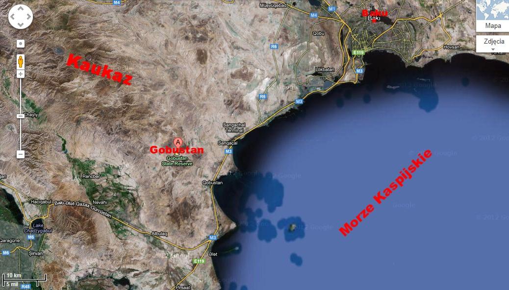 Przybliżona lokalizacja Qobustanu. Źródło: Google Maps