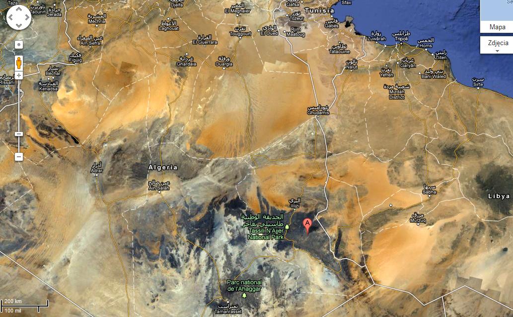 Tassili n'Ajjer, Algieria  © Google Maps