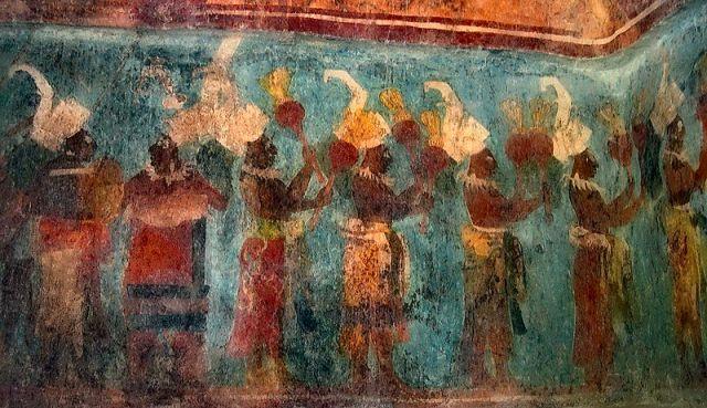 Freski z Bonampak z błękitem majańskim w tle. Fot. Jacob Rus. Creative Commons