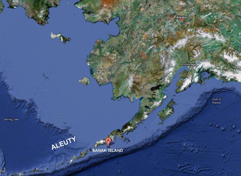 Przybliżona lokalizacja wyspy Sanak
