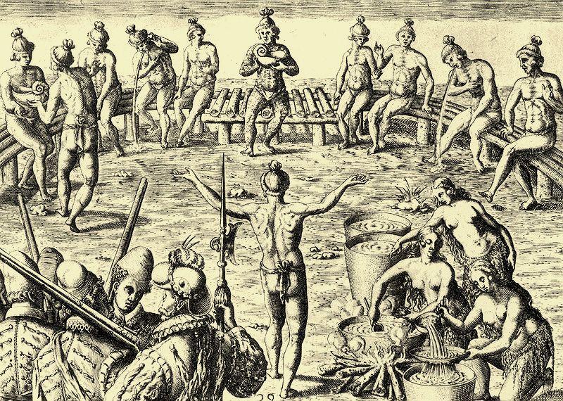 Indianie Timucua z Florydy w trakcie ceremonii spożywania ciemnego napoju. XVI wieczna rycina autorstwa Jacques le Moyne. Creative Commons (domena publiczna)